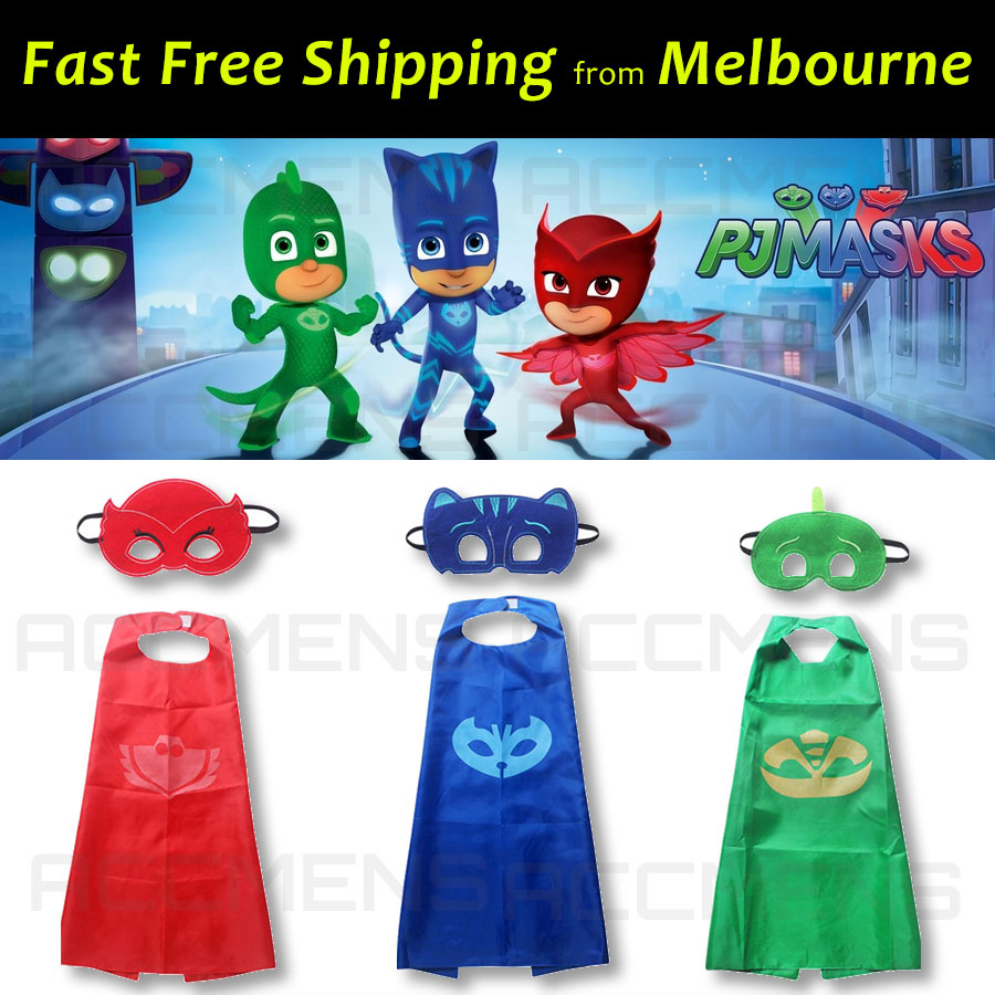 Kids-PJ-Masks-Cape-and-Mask-Set-Superhero-Costume-Gekko-Owlette-Catboy-Fun-Party-1