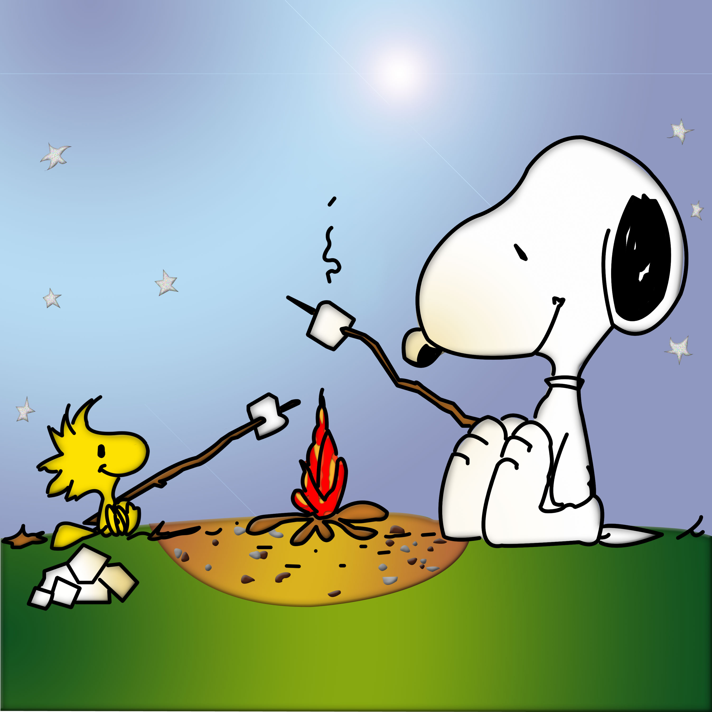 Snoopy & Woodstock   Camping   Grappige cartoon foto's, Grappige ...
