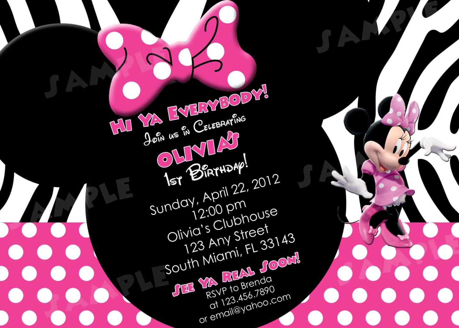 printable minnie mouse birthday invitations