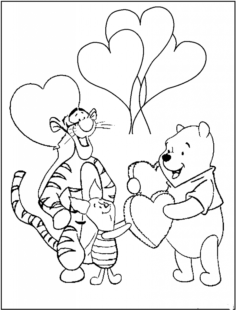 Winnie Pooh Love Coloring
