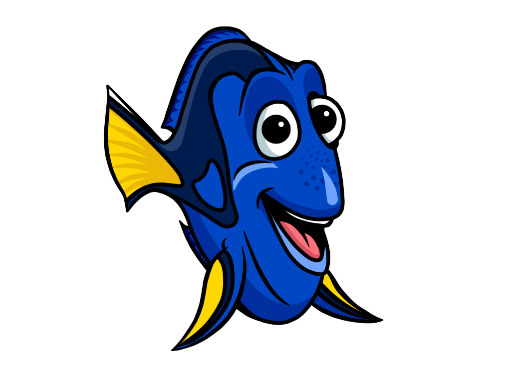 Blue Wide Cartoon Fish Wallpaper Picture Blue Wide