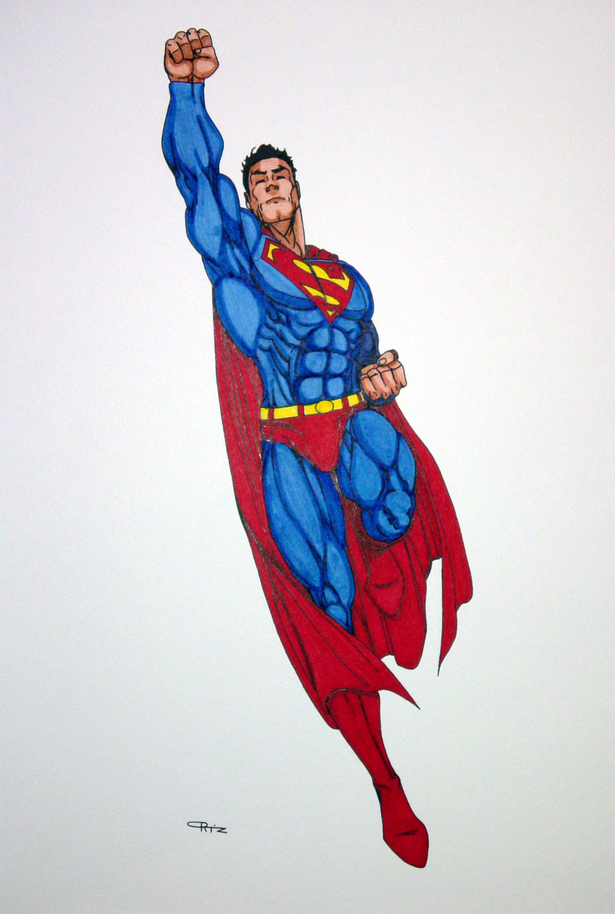 superman flying colored