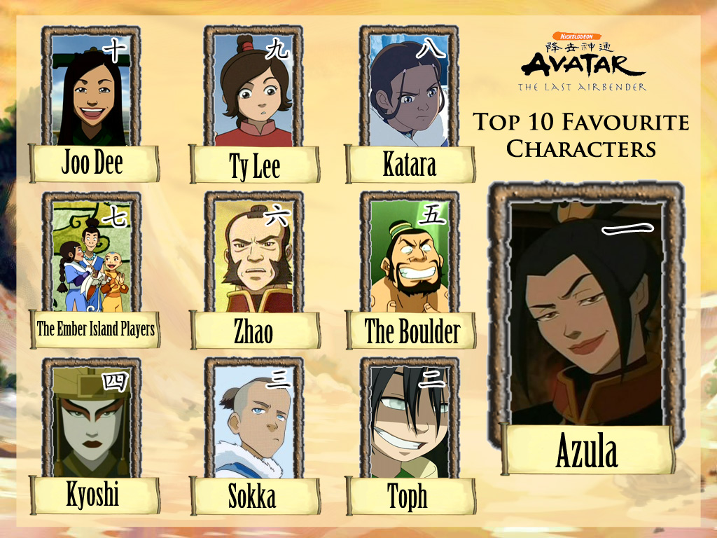 favourite avatar the last airbender characters