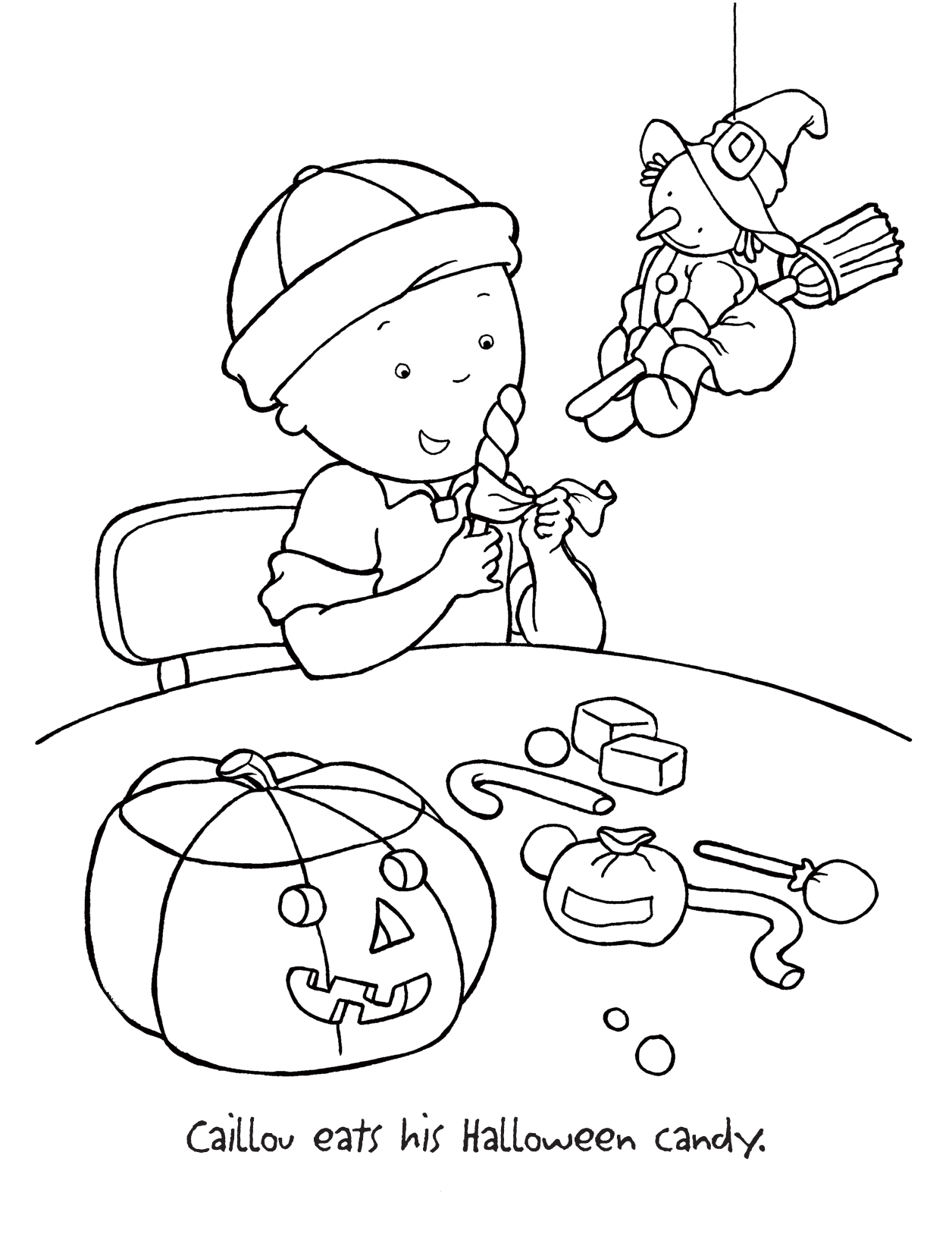 Caillou Halloween Coloring Pages