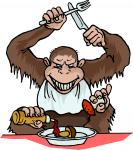 cartoon monkey eating mushroom
