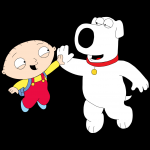 stewie and brian hi five